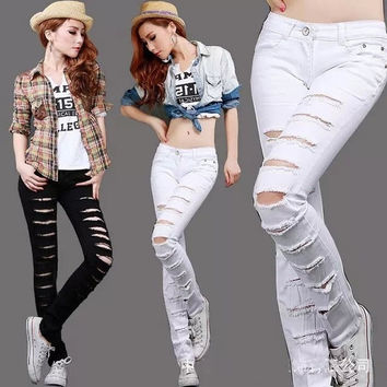 2014White women jeans New Arrivals Fashional Women Electric Slim Fit Trousers Plus Size 26-31 Plus Size Ripped Skinny Jeans = 1929741636