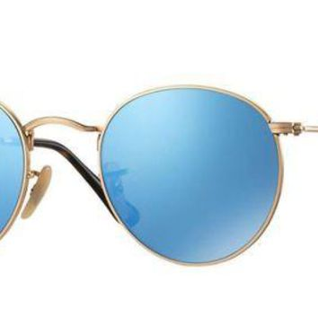 VLX85E Beauty Ticks Ray Ban Round Metal Sunglass Gold With Blue Mirrored Lenses Rb3447n 001/9o