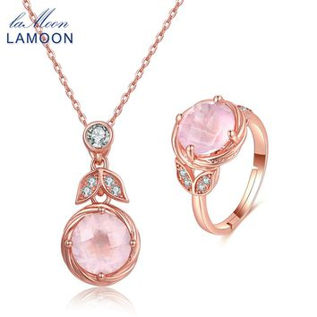 LAMOON 925 Sterling Silver Jewelry Sets for Women Romantic Pink 100% Natural Rose Quartz Necklace Ring Set Engagement V023-3
