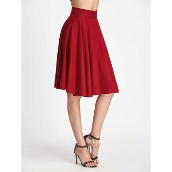 Burgundy Plain Knee Length Fit and Flare Skirt