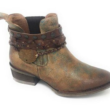 DCCKAB3 Circle G by Corral Green Harness & Studs Round Toe Ankle Booties