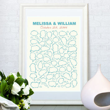 Wedding guest book print, Customized wedding gift, Speech bubbles art guestbook, Personalized art poster