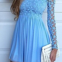 Long Sleeve Blue A-Line Chiffon Short Homecoming Dress