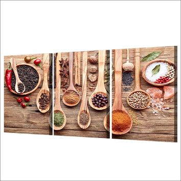 Grains Spices Spoon Wall Art on Canvas Print Picture Poster Framed UNframed