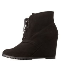 Black Qupid Pointed Toe Lace-Up Wedge Booties