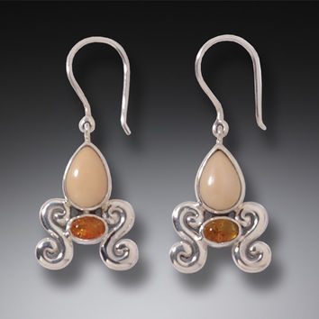 Zealandia Designs Baltic Amber and Fossilized Walrus Ivory Earrings