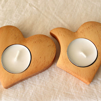 Two heart candle holder Wooden candle holder Heart candle Romantic candle Cheap candle Quick candle Designer candle Decorative Love candle