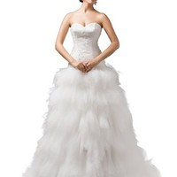 Dressystar Women's Tulll Skirt Appliques Wedding Dresses Lace-up with Train
