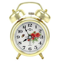KTL 4 Inch Ultra-Stille Circular Classic Alarm Clock Retro Double Bell Desk Table Alarm Clock Gold/Bronze Color With Flowers