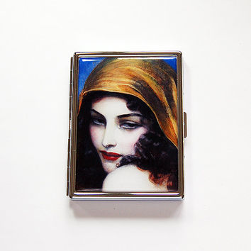 Compact Cigarette Case, Slim Cigarette Case, Cigarette box, Cigarette Holder, Art Deco, Flapper, Art Nouveau, Fine Art Cigarette Case (6070)