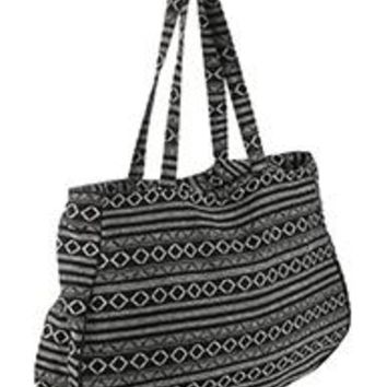 Pretty  TRIBAL Pattern Large Jumbo Tote Handbag Gym Travel Bag  Black & White 20 W X 13 T
