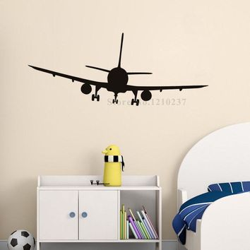 DCTOP Vinyl Removable Commercial Airliner Wall Decal Home Decor Airplane Silhouette Wall Stickers For Bedroom