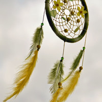 Green and Yellow Dreamcatcher with Jade gemstone and plastic flowers, wall hanging, Bedroom decor