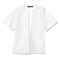 Stretch Cotton Shirting Short Sleeve Blouse by Wes Gordon for Preorder on Moda Operandi