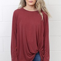 Long Sleeve Get Twisted Modal Top {Burgundy}