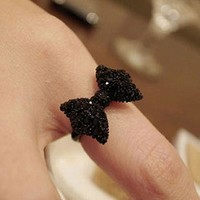R067 Anillos Fashion Cute Black Butterfly Bow Rings Jewelry Accessories For Women Anel Bijoux