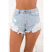 Into The Wild Distressed Nature Shorts (Light Wash)
