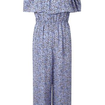 Blue Printed Bardot Jumpsuit - View All - New In