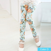 Blue With Rose Girls Floral Pattern Leggings