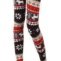 Amour- Fashion Funky Print Leggings Panty Tights O/S (Red Deer)