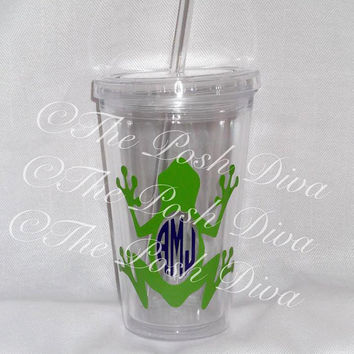 Monogrammed frog  tumbler - 16 ounce cup with lid, straw and bow