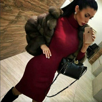 2017 Slim Dress Turtle Neck Bodycon Dresses Cocktail Party Dress Femininas 2017 Spring Longue Robe F