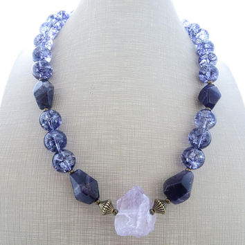 Purple chunky necklace, lavender amethyst necklace, big bold necklace, rustic necklace, gemstone choker, beaded necklace, modern jewelry