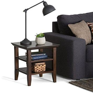 Home Table Shelf storage space Wood Top Corner Shelves  Rich Tobacco Black