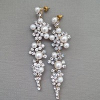 CHYNA Long Wedding Chandelier Earrings Pearl and Crystal Bridal Earrings