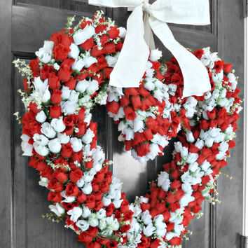 Valentine Wreath, Valentine's Day Wreath, Rose Wreath, Heart Shaped Wreath, Front Door Wreaths, Wedding Decorations, Front Door Decorations