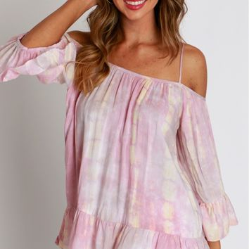 Cotton Candy Skies Open Shoulder Top