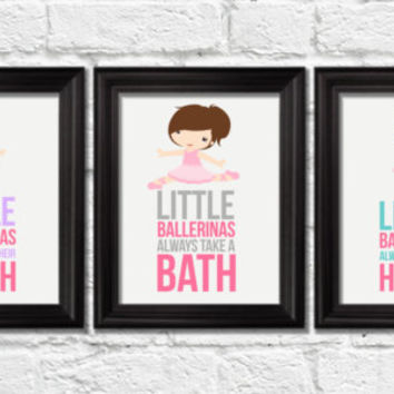 Little ballerinas bathroom rules, girl bathroom rules, kids bedroom decor, ballet nursery decor, girl nursery wall art, children art prints