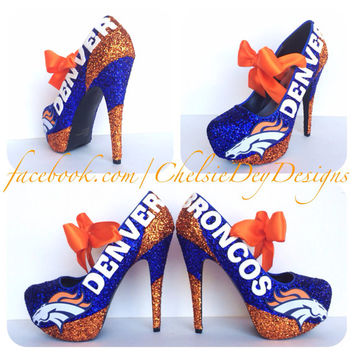 Denver Broncos Glitter High Heels