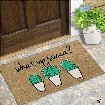 Memory Home Funny Door Mat Entrance Front Cactus Potted Floor Mat What Up Succa Home Kitchen Carpet Decor Doormat Non-Slip Rug