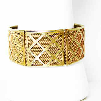 Art Deco Hinged Mesh Bracelet - Gold tone Plated Lattice Overlay - Vintage 1930's 1940's, Square Links