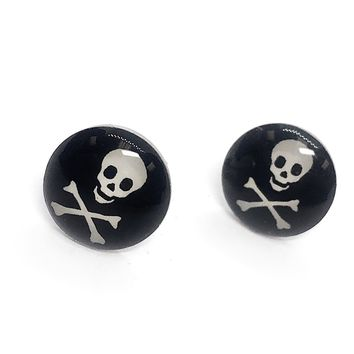 ON SALE - Skull & Crossbones Enamel Button Stud Earrings