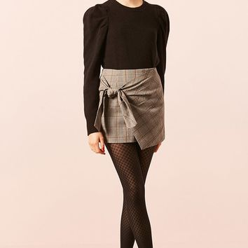 Glen Plaid Tie-Front Mini Skirt