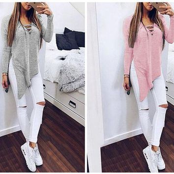 Women Fashion Solid Color Bandage Split Irregular Sweater Pullover Top