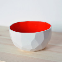 Modern ceramic bowl handmade in polygons - Poligon bowl - Red