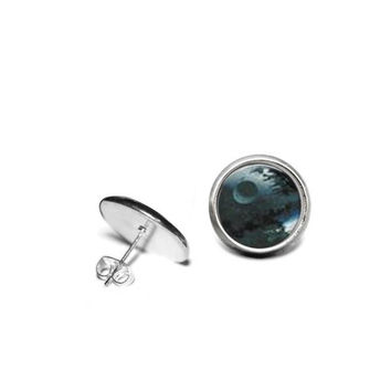 Star Wars Death Star 12mm Stainless Steel Stud Earrings with Hypoallergenic Posts