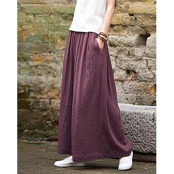 Linen Wide Leg Harem Pants