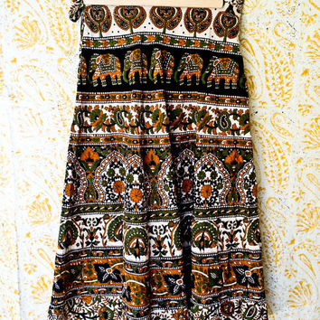 Vintage Indian Cotton Wrap Skirt - Block Print  Midi Skirt - Boho -  India Cotton - Ethnic Print - Earthy Hues