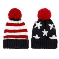 TOOGOO(R) US Flag Knit Beanie Crochet Rib Pom Pom Hat Cap Blue & Red