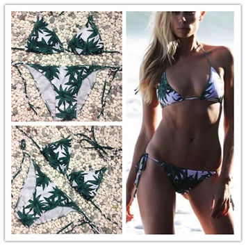 Swimsuit Hot Summer New Arrival Beach Sexy Leaf Print Swimming Ladies Bikini [4970315908]