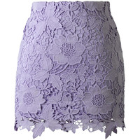 Chicwish Purple Floral Crochet Skirt