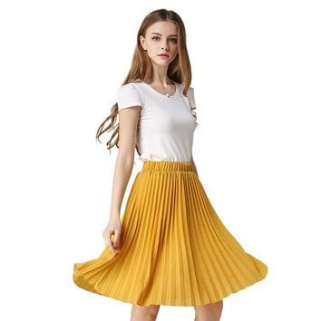 ICIKM2 Vintage Tulle Skirt Tutu Midi Summer Skirts Womens 2016 Slim Elastic High Waist Skirt Jupe Longue Skater Skirt Pleated Skirts