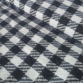 Vintage 80's Wool Blend Fabric. Black and White Checks.