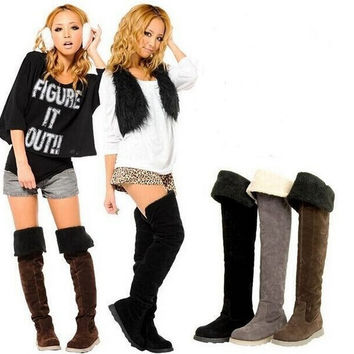 new arrival women winter snow boots over the knee high motorcycle boots with fur winter warm shoes woman = 1931526020