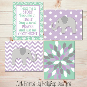 Baby Girl Nursery Art Read Me A Story Purple Mint Green Nursery Decor Elephant Nursery Wall Art Girl Nursery Prints Floral Burst Art #1227