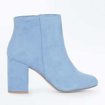 Pale Blue Suedette Block Heel Ankle Boots | New Look